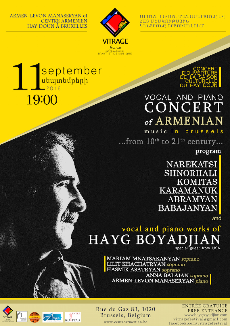 Armenian Music in Brussels, concert poster